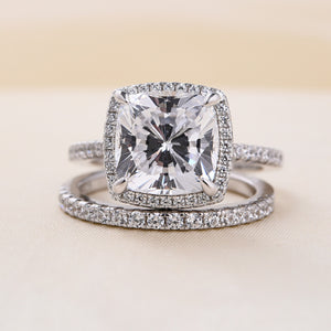 Louily Sterling Silver Halo Cushion Cut Wedding Ring Set