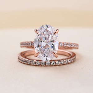 Louily Classic Rose Gold Oval Cut Wedding Ring Set