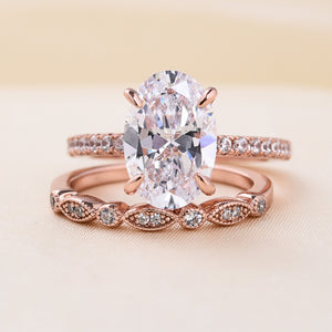 Louily Sterling Silver Rose Gold Oval Cut Wedding Ring Set