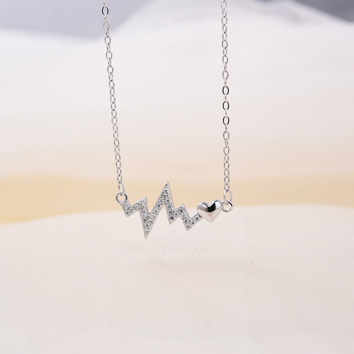 Louily Sterling Silver Heartbeat Pendant Necklace