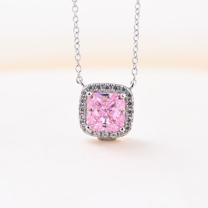 Louily 1.5 Carat Cushion Cut Pink Halo Pendant with Necklace In Sterling Silver
