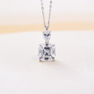 Louily Stunning Emerald Cut White Sapphire Necklace In Sterling Silver