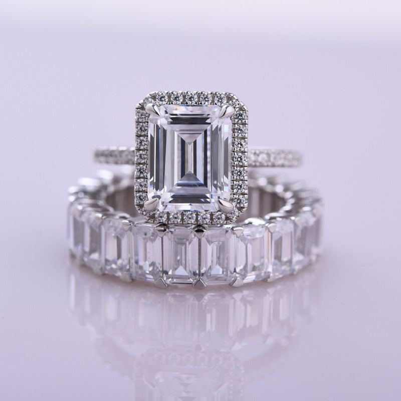 Louily Stunning Emerald Cut Wedding Set In Sterling Silver