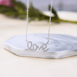 Love Shape Round Cut White Pendant with Necklace In Sterling Silver