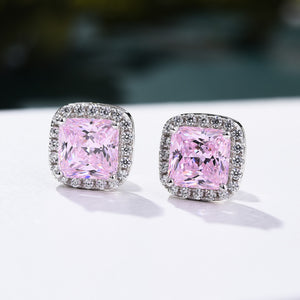 4.0 Carat Halo Princess Cut Pink Sapphire Sterling Silver Women's Stud Earrings