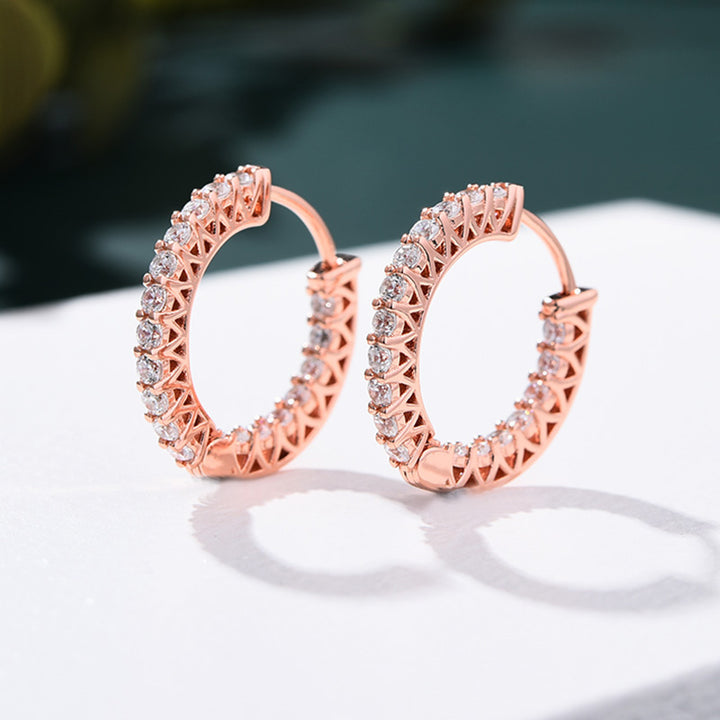 Louily Rose Gold Classic Hoop Earrings In Sterling Silver