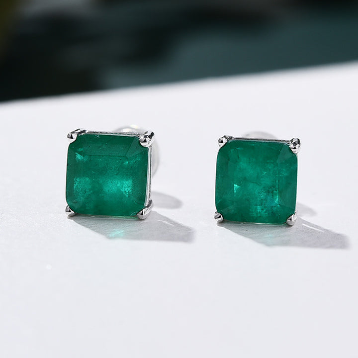 Princess Cut Emerald Green Stud Earrings In Sterling Silver