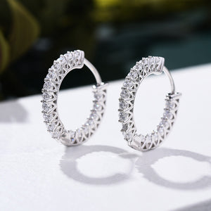 Louily White Gold Classic Hoop Earrings In Sterling Silver