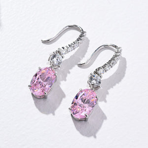 Louily Sterling Silver Luxury Pink Sapphire Oval Cut Drop Earrings