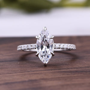 Louily 1.5 Carat Marquise Cut Women's Engagement Ring In Sterling Sliver