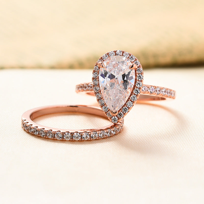 Louily Classic Rose Gold Halo Pear Cut Wedding Ring Set