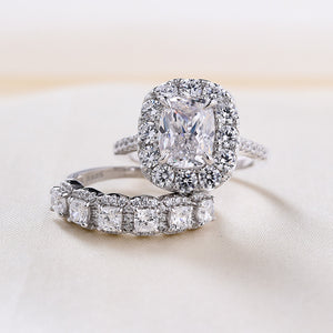 Louily Sterling Silver Eternity Halo Cushion Cut Wedding Ring Set