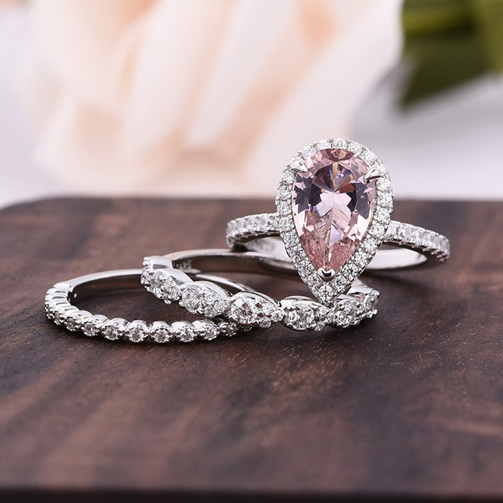 Louily Halo Pear Cut Synthetic Morganite 3-Pieces Wedding Ring Set