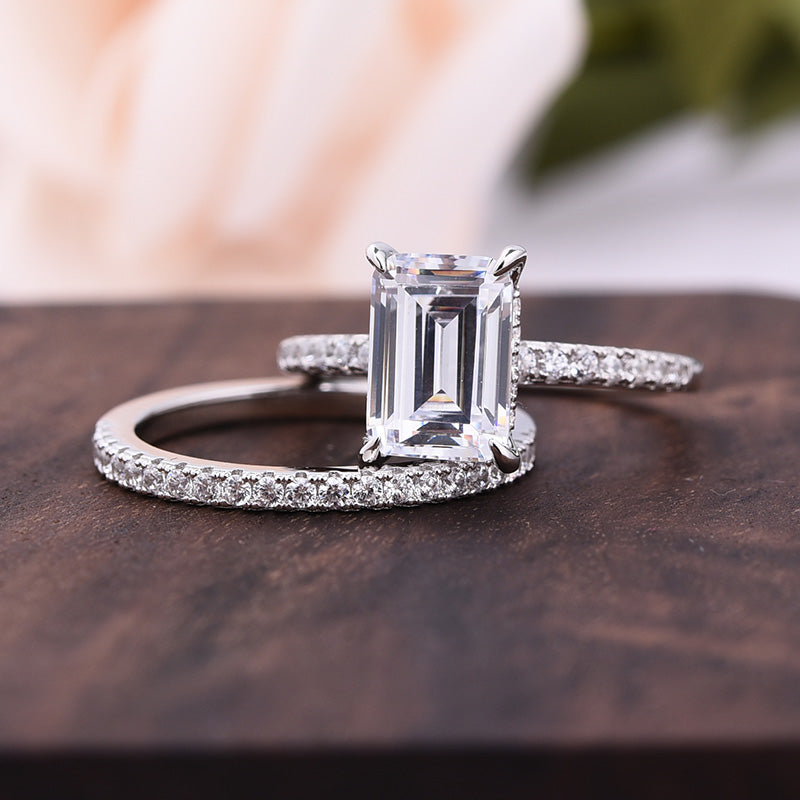 Louily Sterling Silver Classic Emerald Cut Wedding Ring Set