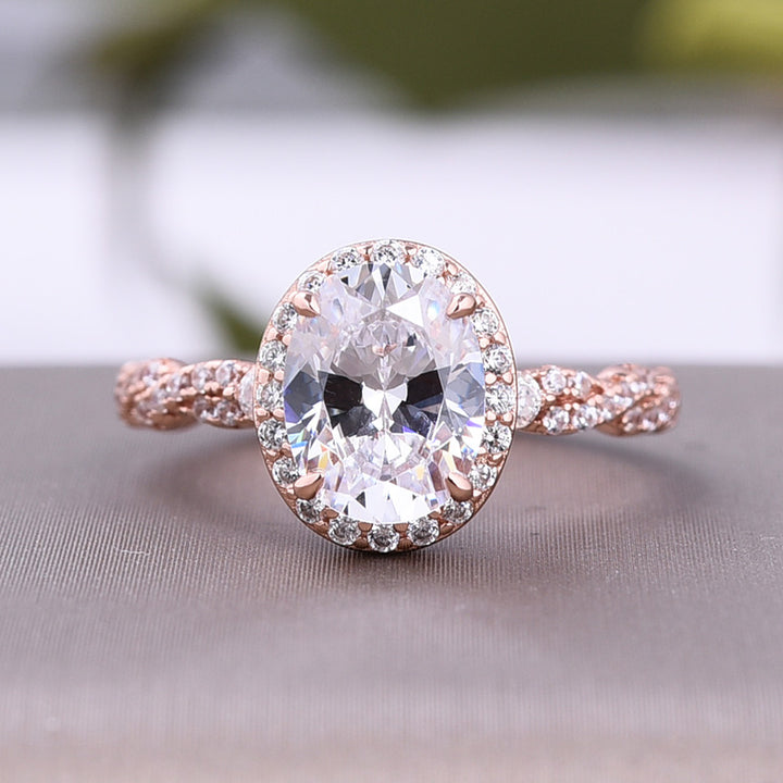 Louily Rose Gold Halo Oval Cut Sona Simulated Diamond Engagement Ring In Sterling Silver