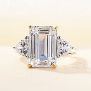 Louily White Sapphire Emerald Cut Three Stone Ring with Heart Cut Side Stone