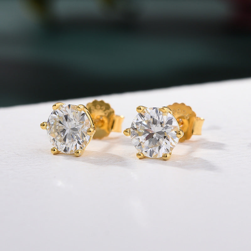 Louily Yellow Gold 2.0 Carat Round Cut Moissanite Stud Earrings
