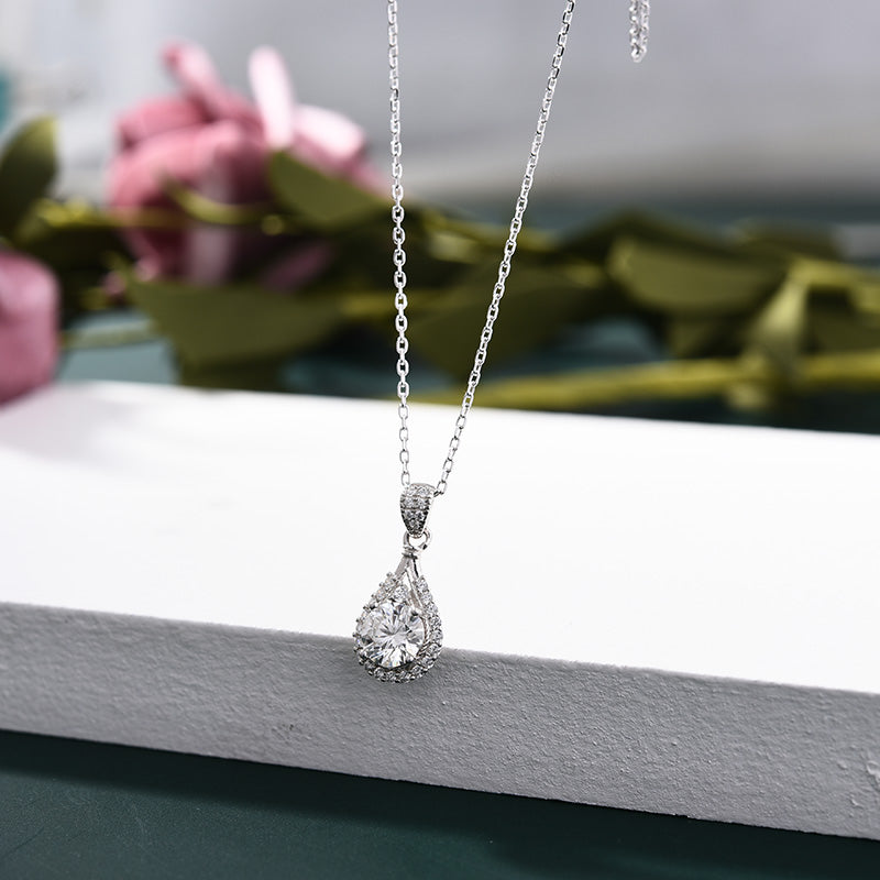Louily Halo Round Cut Moissanite Pendant Necklace In Sterling Silver