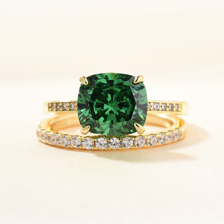 Louily Emerald Green Cushion Cut wedding Ring Set In Sterling Silver