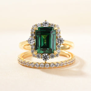 Louily Exclusive Yellow Gold Halo Emerald Cut Wedding Sets In Sterling Silver