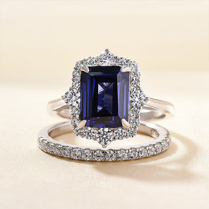 Louily Unique Halo Blue Sapphire Emerald Cut Wedding Ring Sets In Sterling Silver