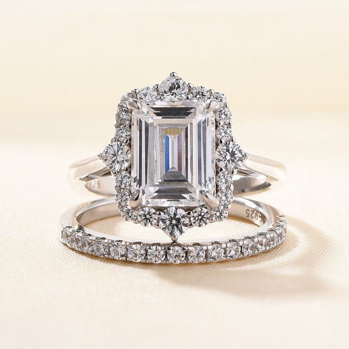 Louily Unique Halo Emerald Cut Wedding Ring Sets In Sterling Silver