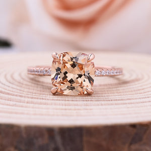 Louily Rose Gold Champagne Stone Cushion Cut Engagement Ring