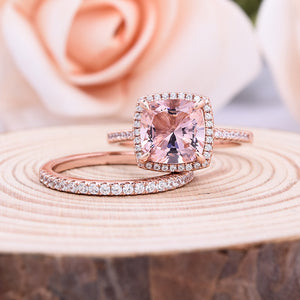 Louily Sterling Silver Halo Cushion Cut Synthetic Morganite Wedding Ring Set