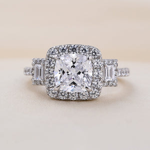 Louily halo Asscher Cut Three Stone Engagement Rings In Sterling Silver