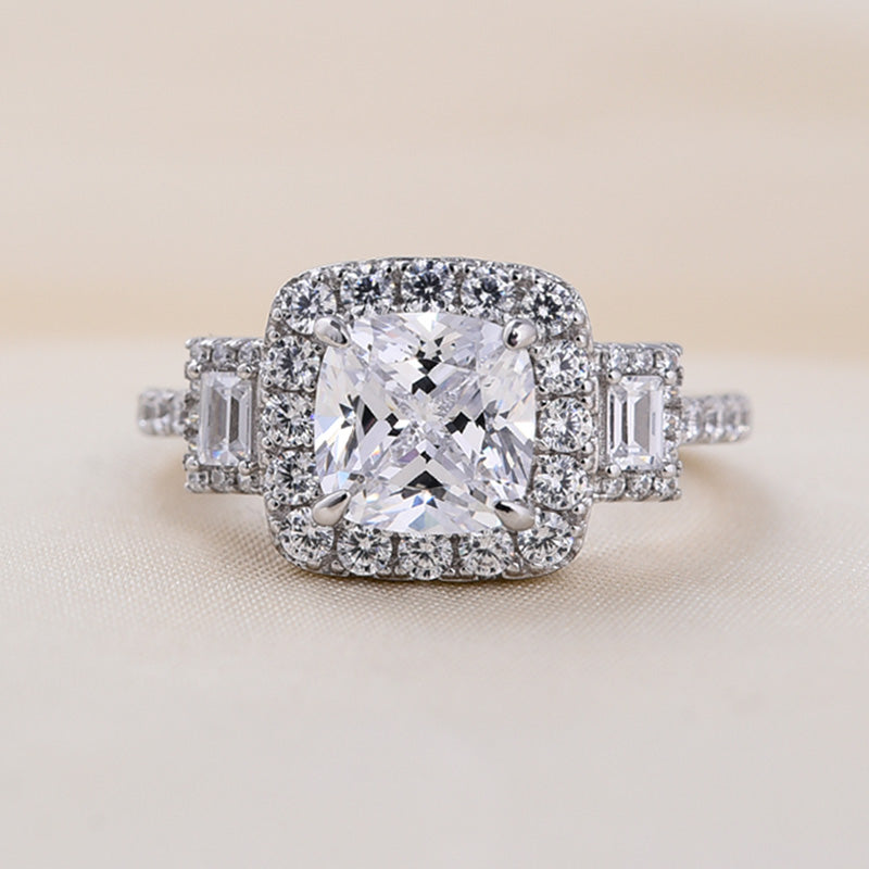 Louily Sterling Silver halo Asscher Cut Three Stone Engagement Rings
