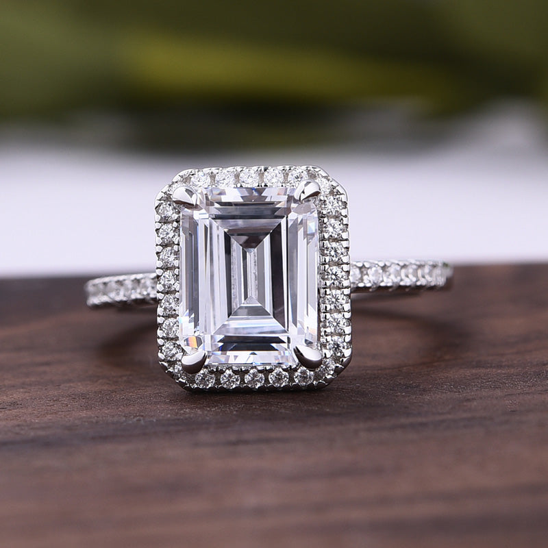 Louily Halo Emerald Cut Engagement Ring In Sterling Silver