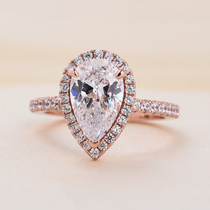 Louily Rose Gold Halo Pear Cut Engagement Ring In Sterling Silver