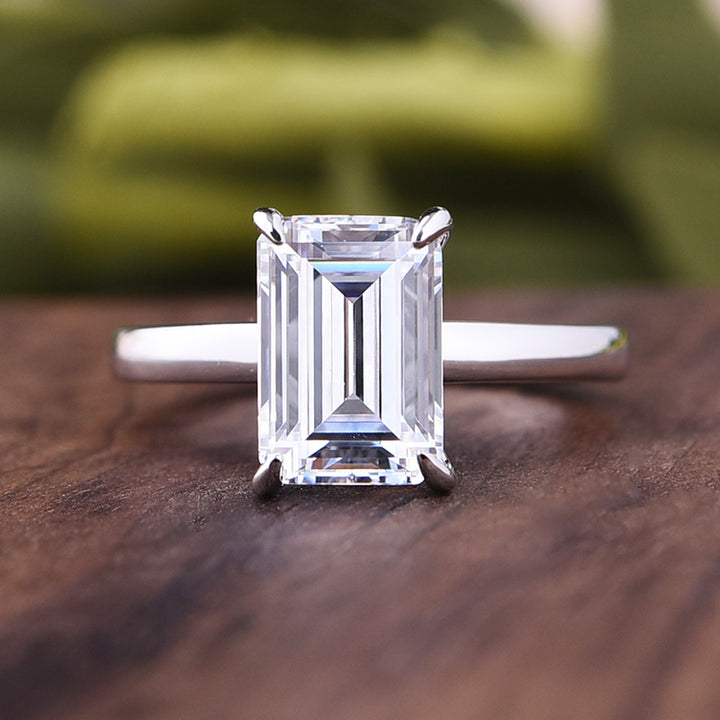 Louily Classic Emerald Cut Solitaire Engagement Ring In Sterling Silver