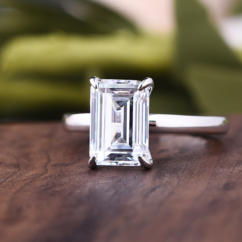 Louily Sterling Silver Classic Emerald Cut Solitaire Engagement Ring