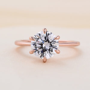 Louily Rose Gold Classic Round Cut Solitaire Engagement Ring In Sterling Silver