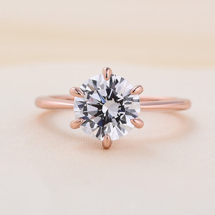Louily Rose Gold Classic Round Cut Solitaire Engagement Ring
