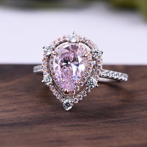 Louily Double Halo Pink Sapphire Pear Cut 2-Tone Engagement Ring In Sterling Silver
