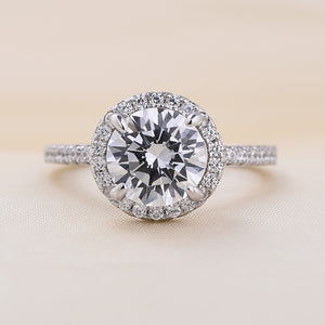 Louily Sterling Silver Halo Round Cut Engagement Ring