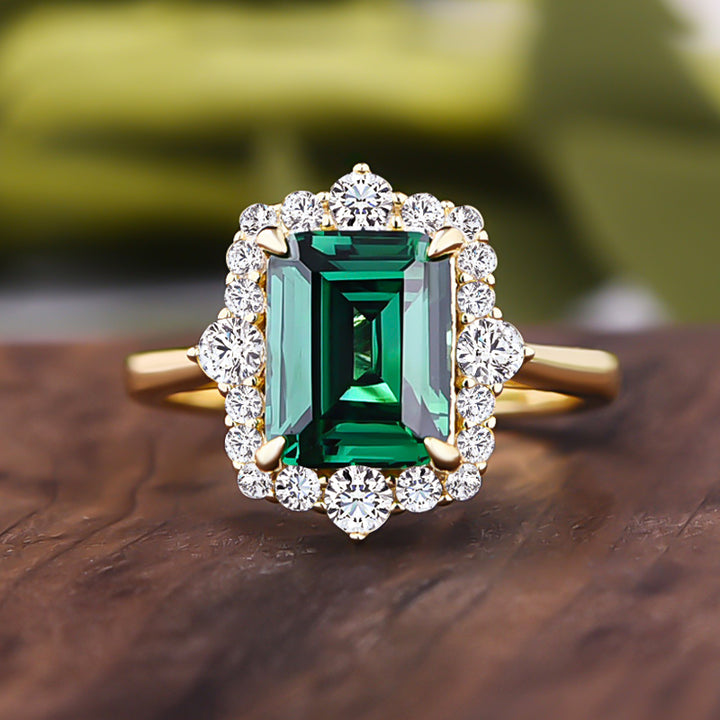 Louily Yellow Gold Halo Emerald Cut Engagement Ring In Sterling Silver