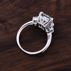 Eternity Radiant Cut Sona Simulated Diamond Three Stone Wedding Set In Sterling Silver