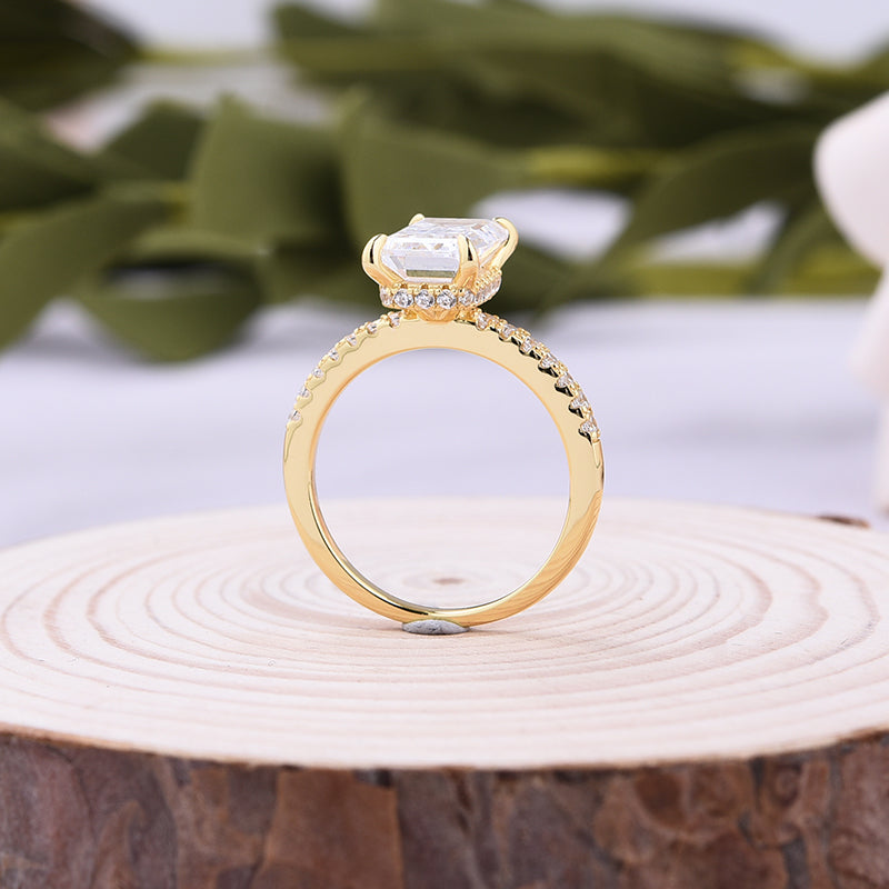 Classic Yellow Gold Emerald Cut Women's Engagement Ring In Sterling Silver