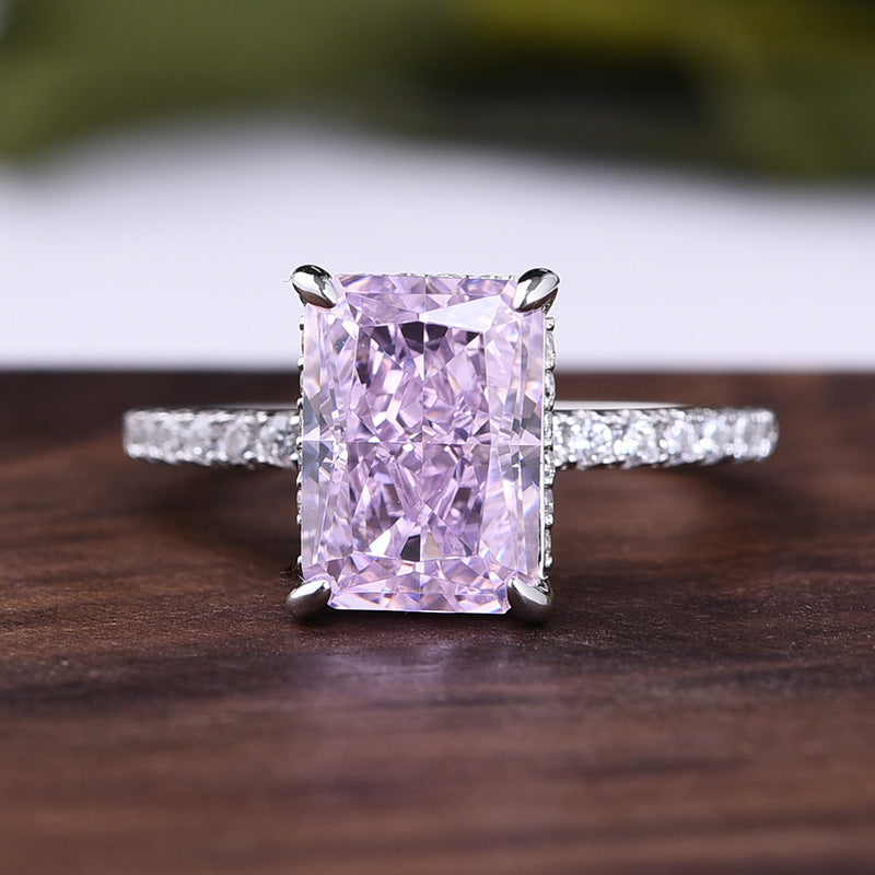 3.3 Carat Sona Simulated Diamond Pink Stone Radiant Cut Engagement Ring In Sterling Silver