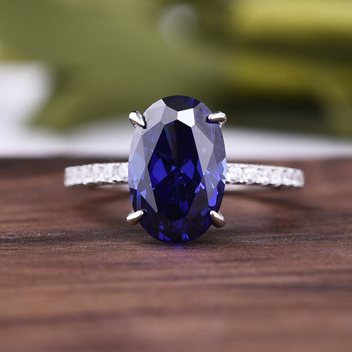 3.5 Carat Classic Blue Sapphire Oval Cut Simulated Diamond Engagement Ring In White Gold