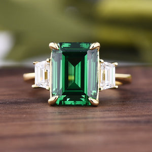 Louily Yellow Gold Emerald Green & White Sapphire Emerald Cut Three Stone Engagement Ring In Sterling Silver