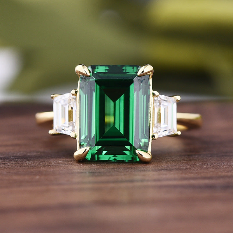 Yellow Gold Emerald Green & White Sapphire Emerald Cut Three Stone Engagement Ring In Sterling Silver