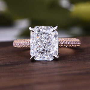 Louily Exquisite 4.0 Carat Radiant Cut Engagement Ring with Pink Side-Stone In Sterling Silver