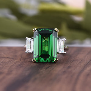 Louily Classic Emerald Green Emerald Cut Three Stone Engagement Ring In Sterling Silver