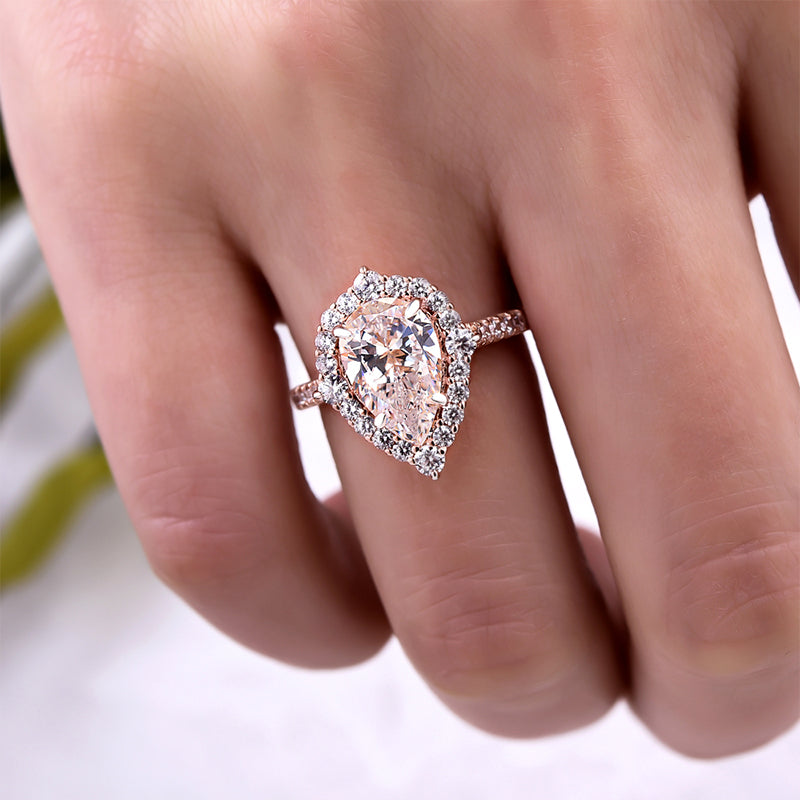 Louily Exquisite 2.2 Carat Halo Pear Cut Rose Gold Engagement Ring In Sterling Silver
