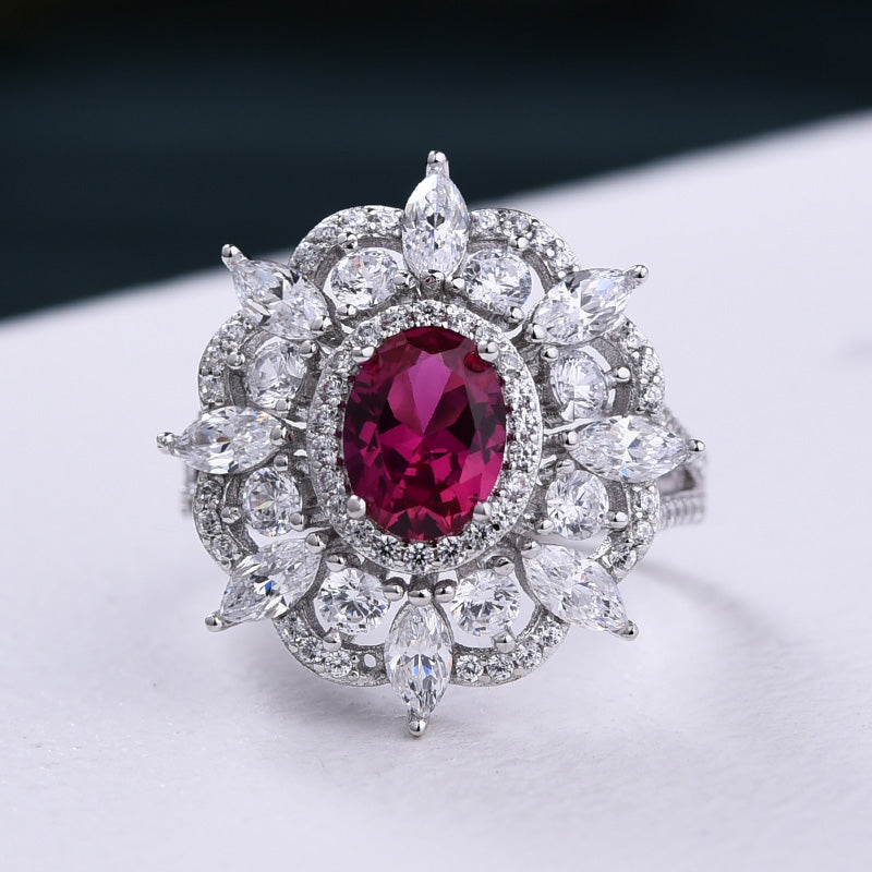 Louily Exclusive Flower Shape 1.0 Carat Oval Cut Ruby Engagement Ring In Sterling Silver