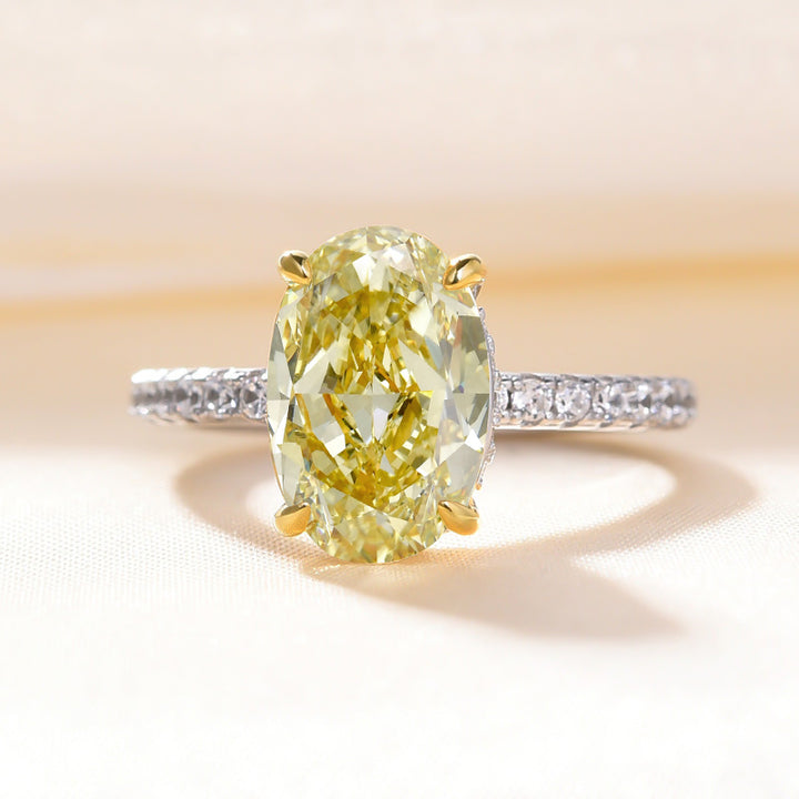 Louily 3.5 Carat Classic Yellow Sapphire Oval Cut Simulated Diamond Engagement Ring In Sterling Silver